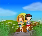 Illustration of the two girls at the hilltop using their cellphones