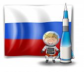 Illustration of the flag of Russia with an explorer and a rocket on a white background