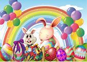 Illustration of the bunnies and colorful eggs near the rainbow and floating balloons
