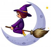 Illustration of a broomstick with a witch near the moon on a white background