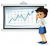 Illustration of a woman explaining the graph on a white background