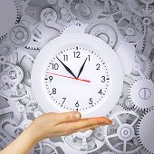 Hand hold clock with gears