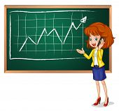 Illustration of a girl using her phone in front of the board on a white background