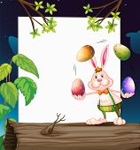Illustration of an empty template with a bunny juggling the eggs