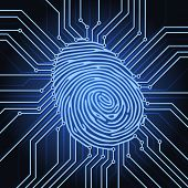 stock photo of fingerprint  - fingerprint identification system electronics scheme - JPG