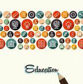 Education Flat Icons Seamless Pattern Background