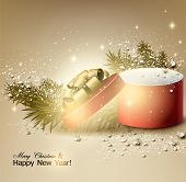 Christmas background with gift. Xmas box with bow.  Vector Illustration.