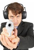 Businessman Aiming A Gun, On  White Background