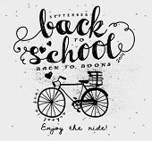 Back to School Vintage Typography Label - Hand drawn vintage style typography label, with doodle bicycle and books