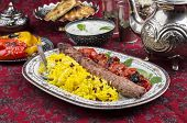 picture of kababs  - kebab koubideh with sereshk polo - JPG
