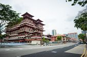 SINGAPORE - 2 JAN, 2014: Chinatown famous district of Singapore. Buddha Tooth Relic temple is on of most honored temples in Asia. Popular tourist destination