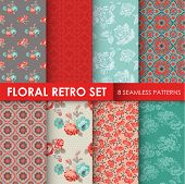 8 Seamless Patterns - Floral Retro Set - texture for wallpaper, background, scrapbook, design - in vector