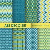 Vintage Art Deco Background Set - 8 seamless patterns for design and scrapbook - in vector