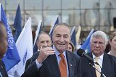Senator Schumer gestures for emphasis