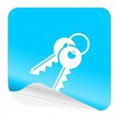 keys blue sticker icon