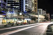 Night traffic trails on Surfers Paradise Esplanade