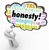 Honesty virtue words in a thought cloud over a thinking person including terms such as sincerity, in