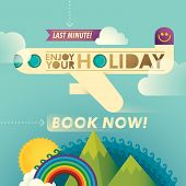 Illustrated travel background in color. Vector illustration.