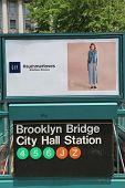 Brooklyn Bridge City Hall Subway Station entrance in NYC