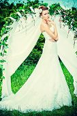 image of wedding arch  - Beautiful elegant bride stands under the wedding arch - JPG