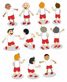 Illustration of the set of boys playing on a white background