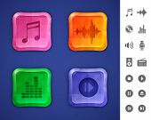 Music and sound icons. Glossy colorful buttons with mosaic patterns for websites or applications. Ve