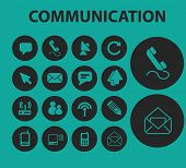 communication flat buttons, icons, signs, symbols, objects, illustrations set. vector