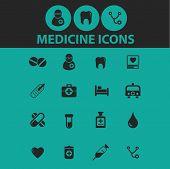 medicine icons, signs, symbols, objects, illustrations set. vector