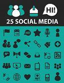 25 social media icons, signs, symbols, objects, illustrations set. vector