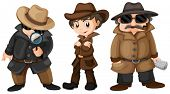 Illustration of three detectives