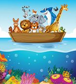 Illustration of a boat at the sea with animals