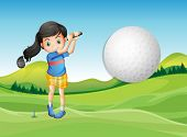 Illustration of a young lady playing golf