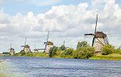 Windmills Standing In A Row, Kinderdijk