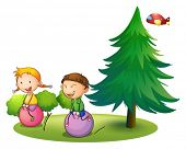 Illustration of the kids playing with the bouncing balloons near the pine tree on a white background