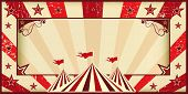 Red circus invitation. Circus invitation with sunbeams and a large frame. A retro invitation card for your circus company.