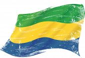 Waving gabonese grunge flag. A grunge flag of Gabon in the wind for you