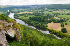 picture of domme  - View over the Dordogne river area as seen from the city of Domme