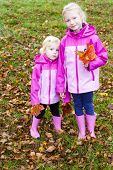 little girls in autumnal nature