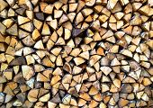 Texture sawn and stacked wood for firewood.