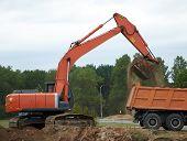 The Wheel Loader Excavator Loading Dumper Truck