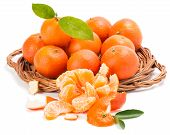 Tangerines Or Mandarin With Leaves And Slices