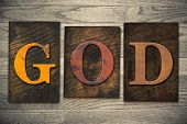 God Concept Wooden Letterpress Type