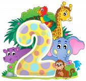 Happy animals around number two - eps10 vector illustration.