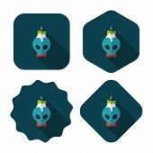 Skull Candle Flat Icon With Long Shadow,eps10