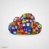 Cloud with many application icons.