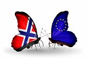 Two Butterflies With Flags On Wings As Symbol Of Relations Norway And Eu