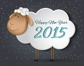 Greeting Card with sheep. Happy new year 2015.