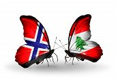 Two Butterflies With Flags On Wings As Symbol Of Relations Norway And Lebanon