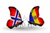 Two Butterflies With Flags On Wings As Symbol Of Relations Norway And Moldova