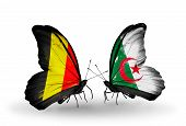 Two Butterflies With Flags On Wings As Symbol Of Relations Belgium And Algeria